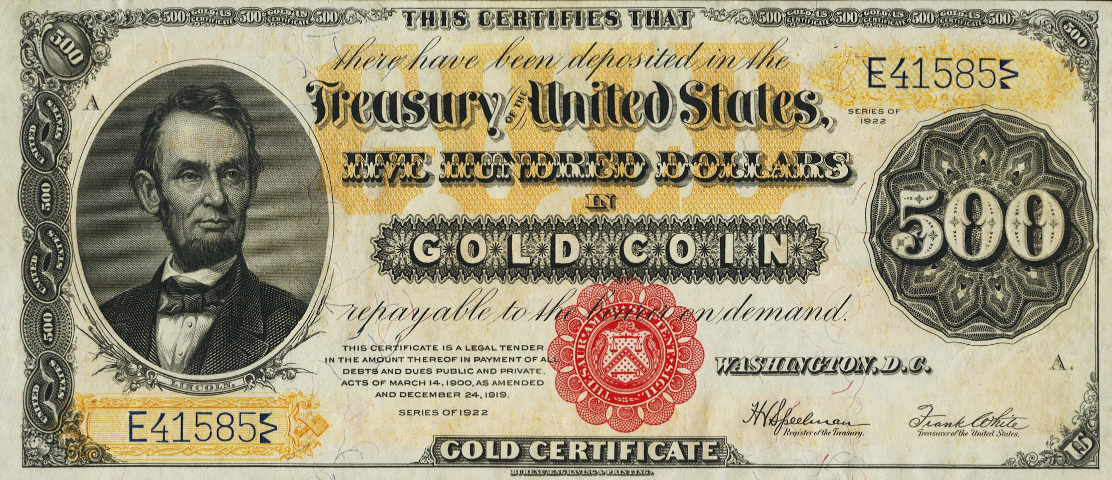 Gold certificates and bank notes for sale donckelly 500 gold notes series 1882 1922 xflitez Choice Image